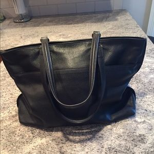 Awesome Fossil Tote Bag Black leather